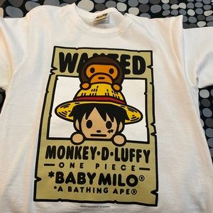 Bape X One Piece Luffy Milo Tee Authentic Size S